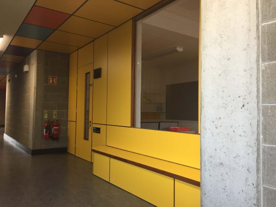Monivea National School Yellow formica door